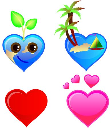 set of heart symbols in different shapes hearts Stock Photo - 3882981