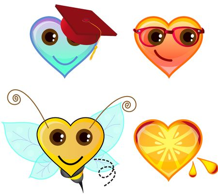 set of heart symbols  in the same series other elemental icons also available for download Stock Photo