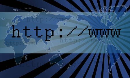 an internet related image showing globe of the  world along with http address over the internet showing cyber networking or simply data transmission