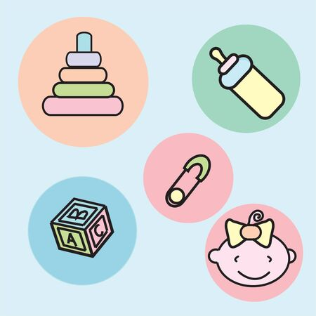a set of baby art icons including stag, feeder, block , pin and baby Stock Photo