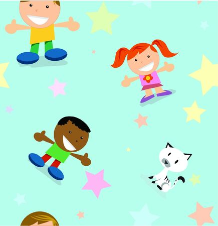 a baby pattern background including global kids stars and a cat.