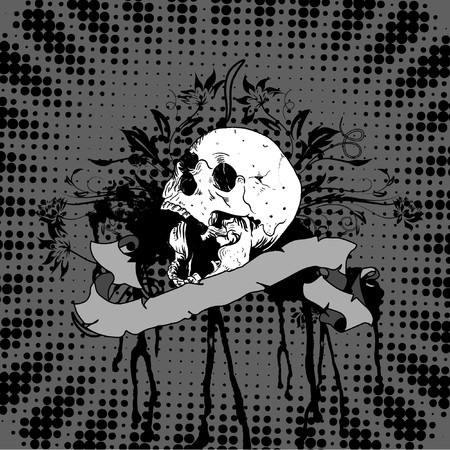 open mouth skull with ribbon and floral pattern on black dotted background