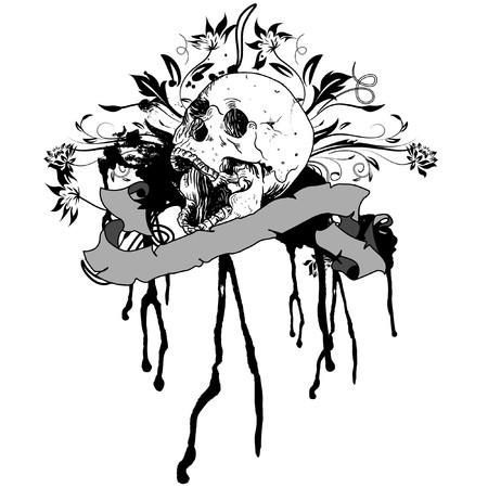 sangre derramada: cr�neo y patr�n floral sobre un fondo blanco