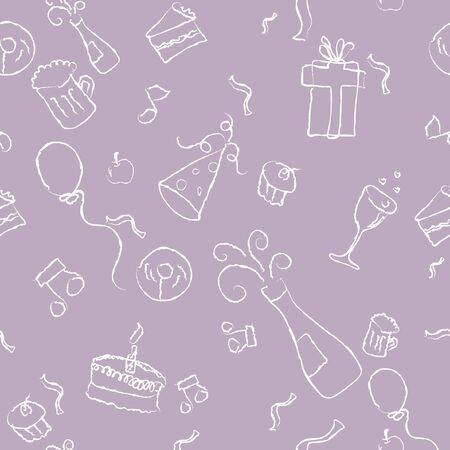 seamless pattern of a party decorative line art on a purple background