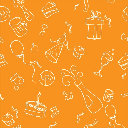 seamless pattern of a party decorative line art on a orange background Stock Photo