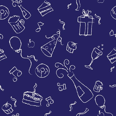 seamless pattern of a party decorative line art on a background