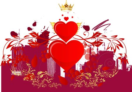 three hearts and a golden crown in a celebrated city in the background