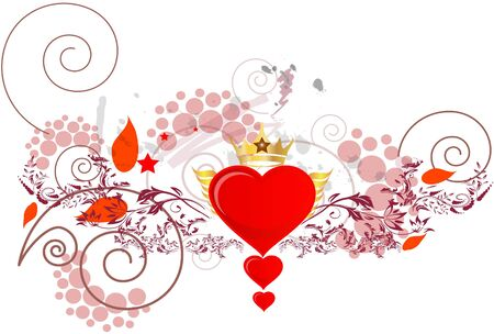 three hearts with red leaves and floral design and a golden crown