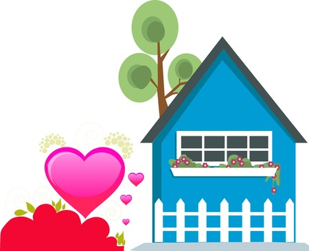 beautiful hearts with hut, flowers and tree Stock Photo