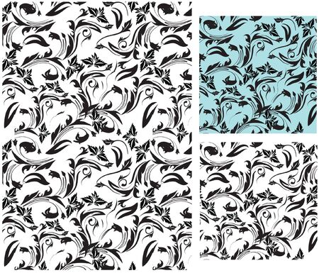 set of seamless pattern and decorative floral art  Stock Photo - 4261036