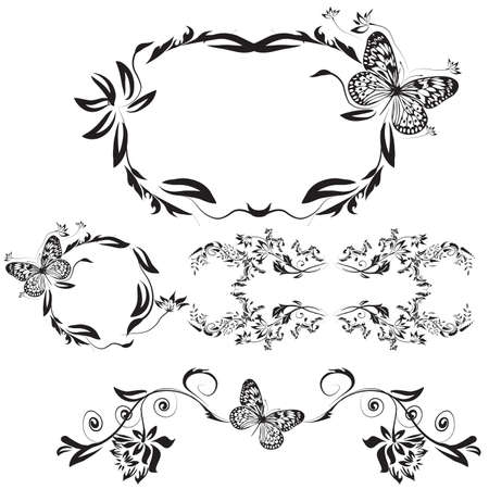 beautiful set of black floral shaped frames and pattern Stock Photo - 4261034