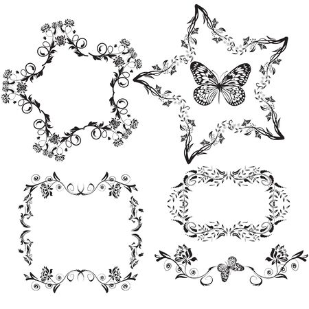 set of black floral shaped frames and pattern Stock Photo