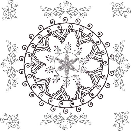 beautiful hand drawn vector pattern design good for textile, jewellary, henna and decorations. to see more patterns and floral designs. visit my portfolio. Stock Photo
