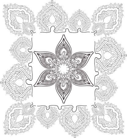symmetry: beautiful hand drawn vector pattern design good for textile, jewellary, henna and decorations. to see more patterns and floral designs. visit my portfolio. Stock Photo