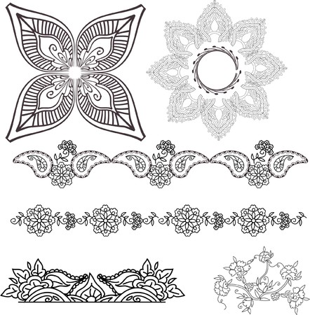 beautiful hand drawn vector pattern design good for textile, jewellary, henna and decorations. to see more patterns and floral designs. visit my portfolio. Stock Photo - 4552641