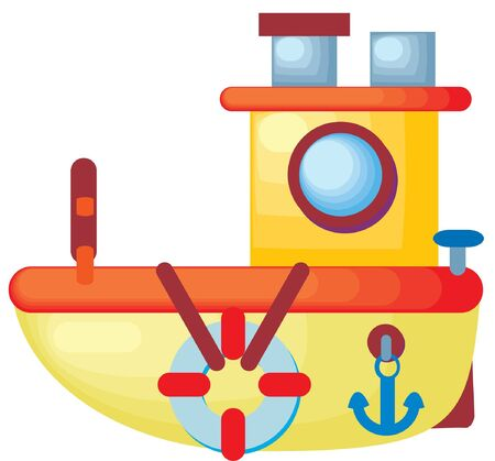 a beautiful colorful vector illustrated boat with life saver and anchor Stock Photo
