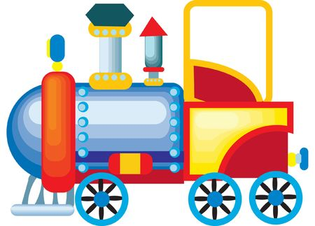 a colorful vector illustration of a toy train engine