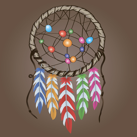 rope folk: Ethnic amulet made of feathers and beads Dreamcatcher