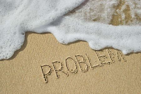 The inscription problem on the sand was washed away by the sea wave