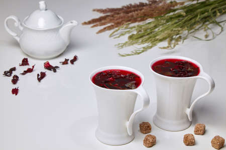 Hibiscus herbal tea made from Sudanese rose and mint flowers