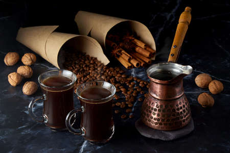 Turk and two cups of hot coffee with spices Stock Photo