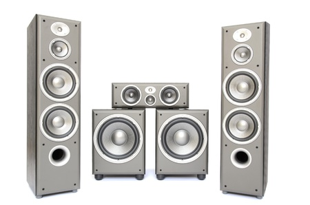 surround system: a high fidelity audio surround system isolated on white Stock Photo