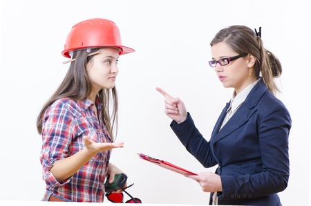 Two business woman in a serious contradiction Stock Photo