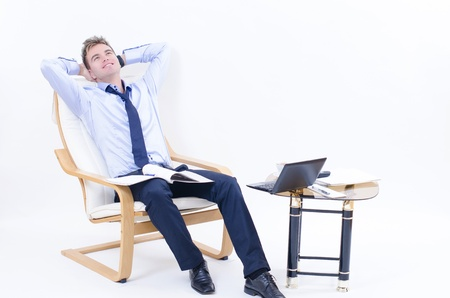 A happy business man at his office