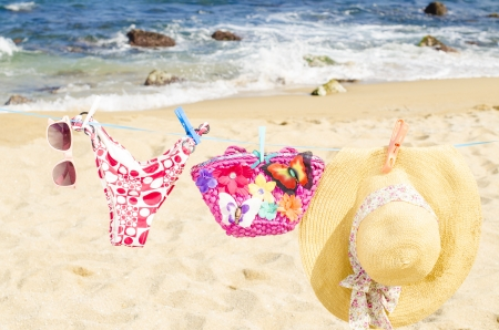 shore line: Clothes to dry on the beach