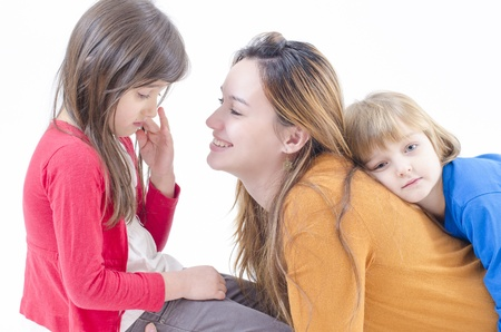 consoling: A mother consoling her litlte daughter Stock Photo