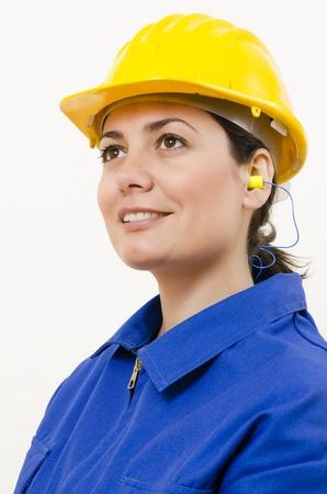 decibels: A woman wearing protective equipment Stock Photo