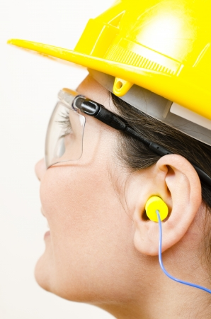 protective goggles: A woman wearing protective equipment Stock Photo
