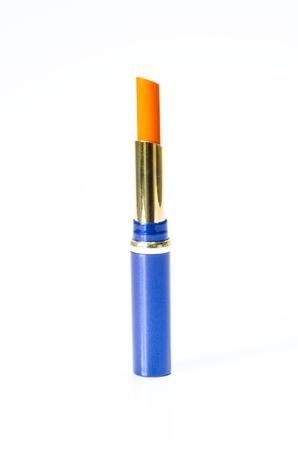 lip stick: Close up of a lipstick on white background Stock Photo