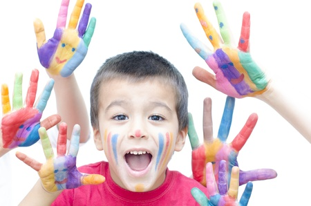 Different colored hands of children and adults