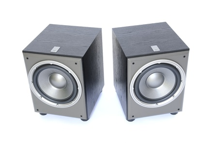 profesional: two profesional sub-woofers isolated on white