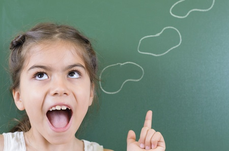 affirmation: Girl having a message on chalkboard Stock Photo