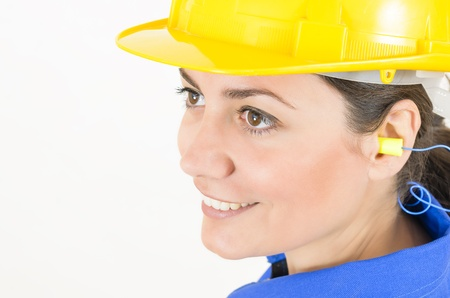 A woman wearing protective equipment photo