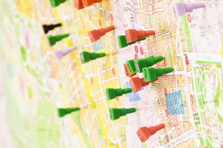 places of interest: City map filled with pins