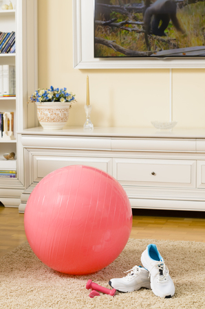 Fitness Ball and Sneakers in a living room