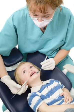 specialized: A dentist examining a kid with specialized instruments