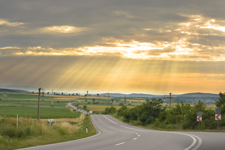 sinuous: Sinuous Road in Summer Day, sunset scenery