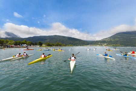 Kayak Teams in a lake resort