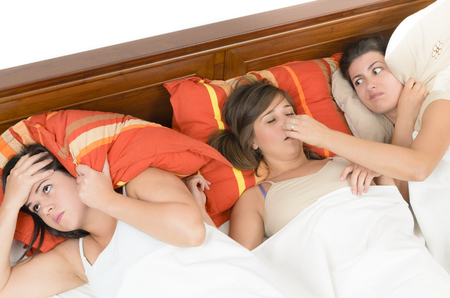 roommates: A snorer woman disturbing her roommates