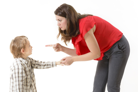 Mother disciplining her child
