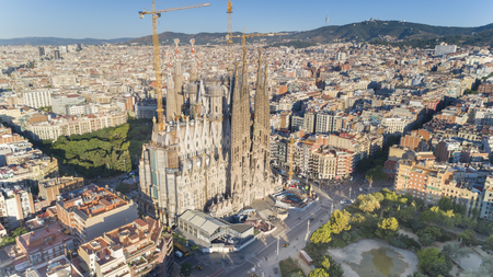 Aerial view of Sagrada Familia landmark, Barcelona, Spain Banco de Imagens