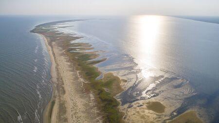 Aerial view of Sacalin peninsula in Danube delta, Romania Banco de Imagens - 138150565