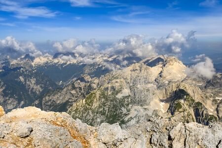 Beautiful mountains panorama in a sunny summer day, Triglav, Slovenia