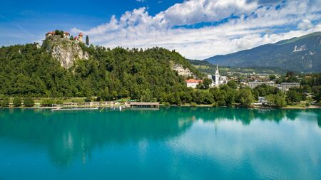 Aerial view of lake bled in sunny summer day