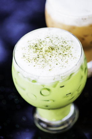 quench: Glasses of Thai and Green iced tea Stock Photo