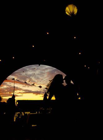 silhouetted: Silhouetted couple